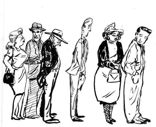 """Line Art People : """"waiting is overrated glamour and inspiration"""