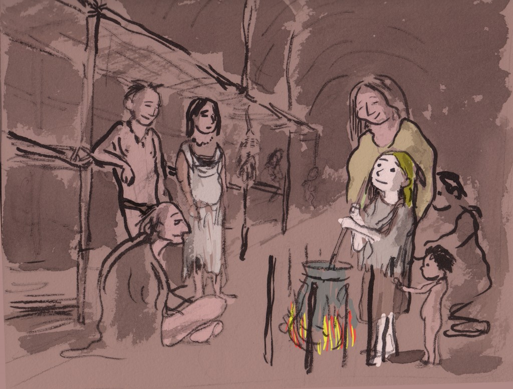 Longhouse interior with Eunice and new family