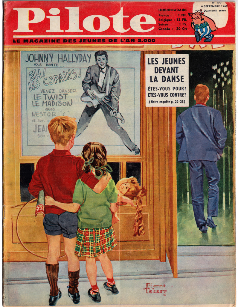 This Norman Rockwell hommage (or is it a parody) encapsulates the position of the early Pilote perfectly: still depicted in a classical mode, young French children gazing at the rebellious future as symbolized by French rock star Johnny Hallyday.