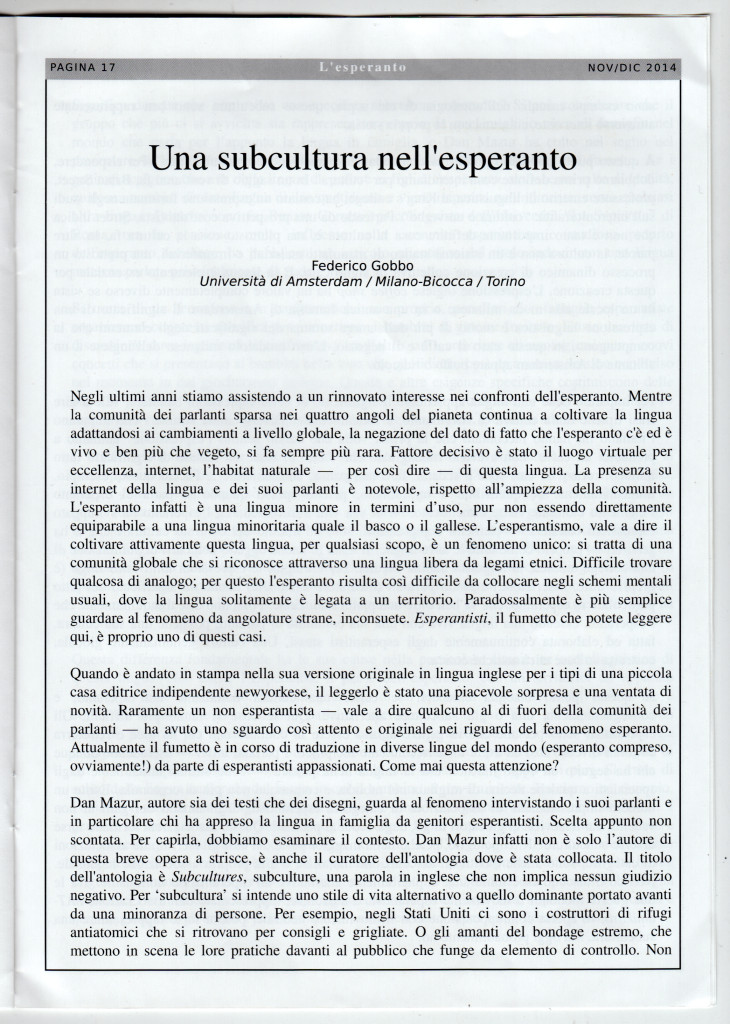 esperanto essay Anonymous reviewers, whose comments on an earlier draft of this essay were   individual rights in the united states as a sort of political esperanto (jelen.