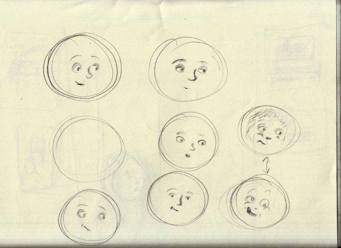 moon sketches 3-26-17 silly facve